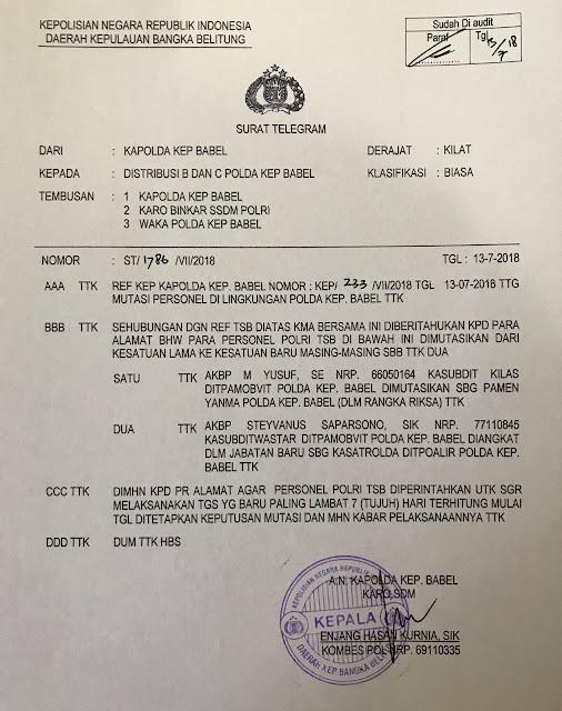 AKBP M. Yusuf Dimutasi - Surat Telegram Nomor ST/1786/VII/2018 tertanggal 13 Juli 2018