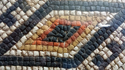 Lozange geometric patterns in the Louvignies Mosaic in Bavay, Northern France.