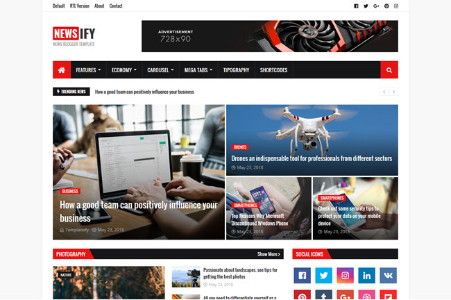 Newsify - Magazine Blogger Template