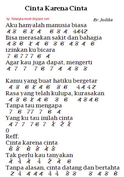 Not Angka Pianika Lagu Cinta Karna Cinta - Judika