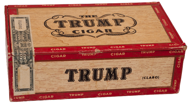 An older wooden cigar box from TRUMP cigars, with the duty stamp.