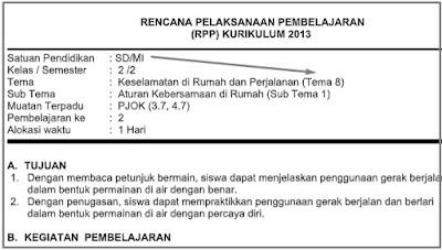 RPP 1 lembar PJOK SD Kelas 2 Tema 8 Revisi 2020