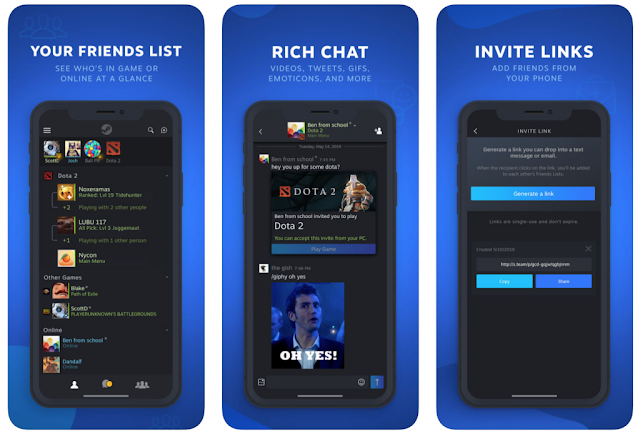Steam Chat App for iOS And Android