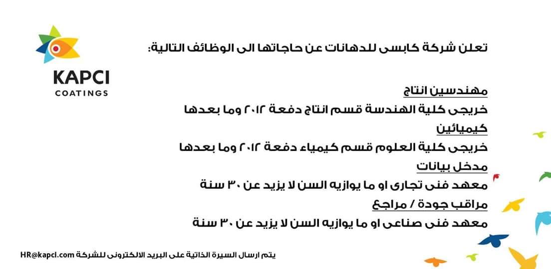 وظائف خالية بشركة كابسى للدهانات بمحافظة بورسعيد
