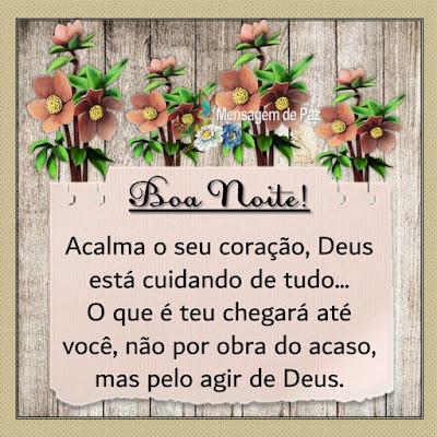 Acalma o seu coração,   Deus está cuidando de tudo...  O que é teu chegará até você,   não por obra do acaso,   mas pelo agir de Deus.  Boa Noite!