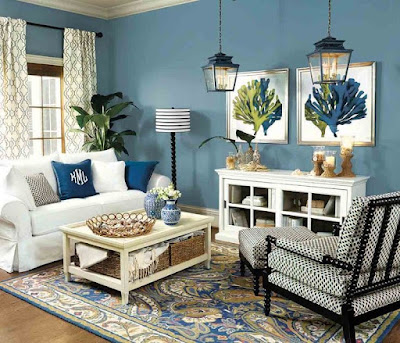 Blue and green living room decor
