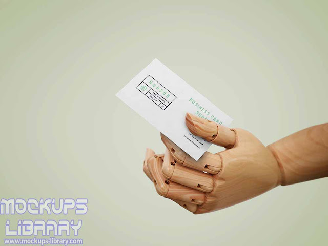 wooden hand business card mockup
