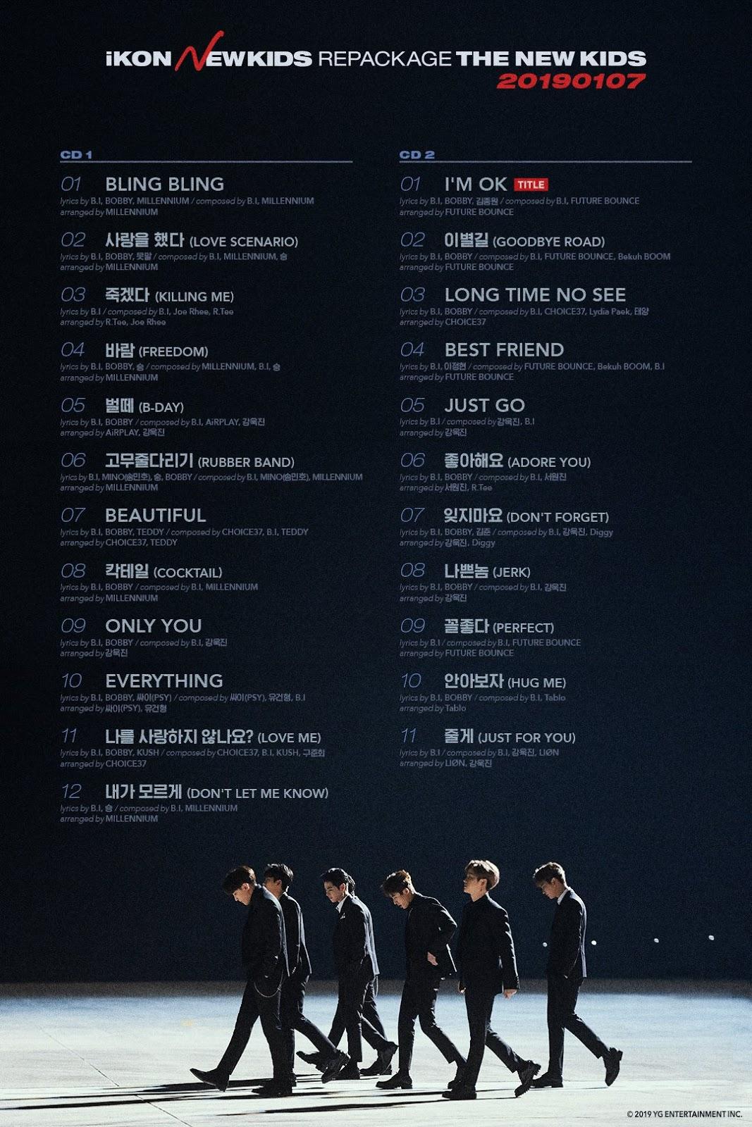 iKON New Kids Repackaged Album Track Lists - iKON Updates