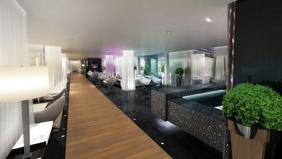 Perspective 3d lobby hôtel de luxe