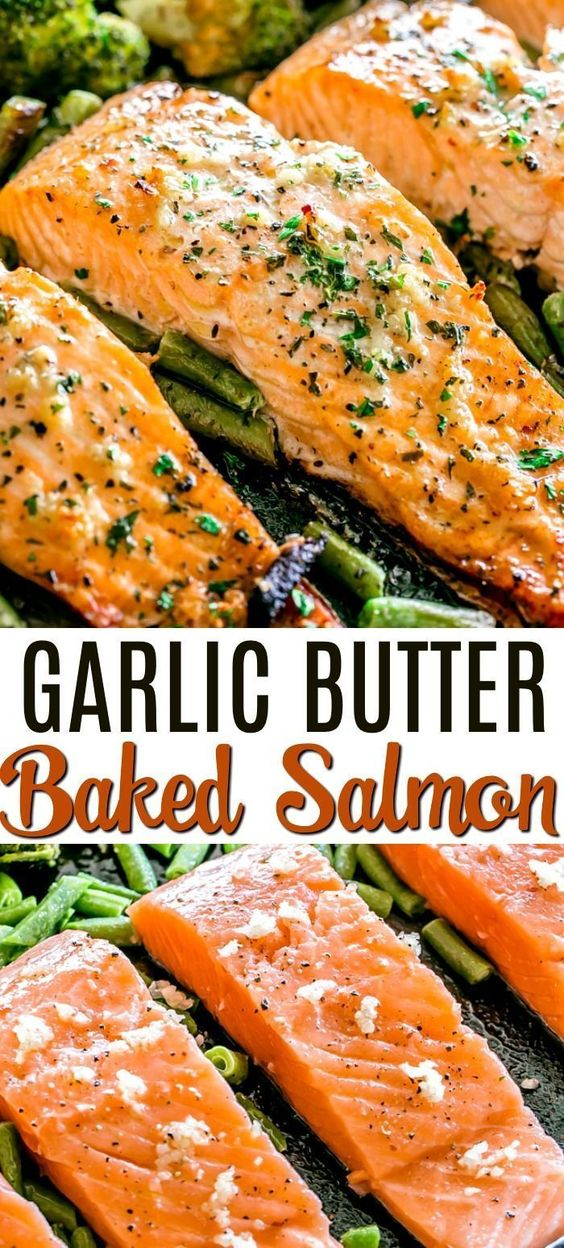 Perfectly baked salmon in the oven! Brushed with garlic butter sauce, this recipe makes amazingly tasty salmon baked on a sheet pan with broccoli florets.