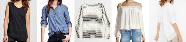 Merona Crochet Trim Shell $13 (reg $18) Old Navy Chambray Button-Down Shirt $19 (reg $30) J. Crew Factory Long-Sleeve Striped Boatneck T-Shirt $30 (reg $50) Dex Crochet Trim Cold Shoulder Blouse $39 (reg $69) White House Black Market Split-Back Pleated Poplin Shirt $40 (reg $88)