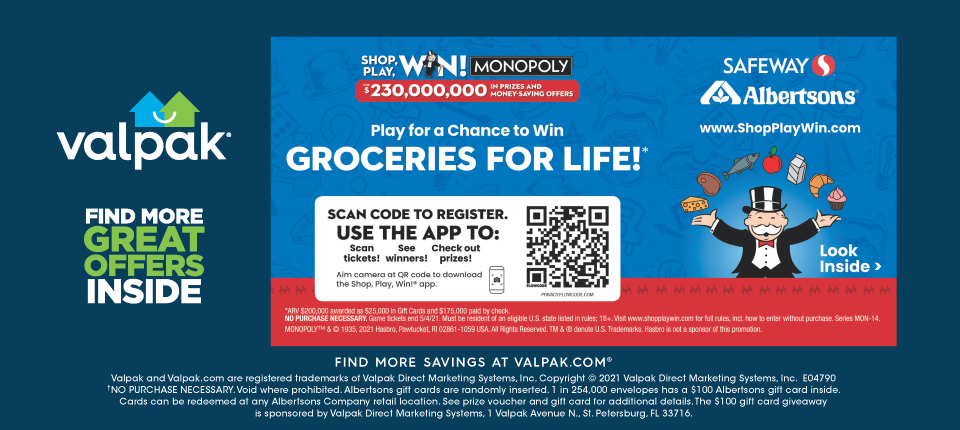 Valpak entry for #GoShopWin Monopoly game