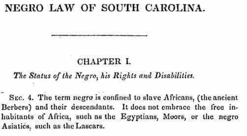Negro Law of South Carolin