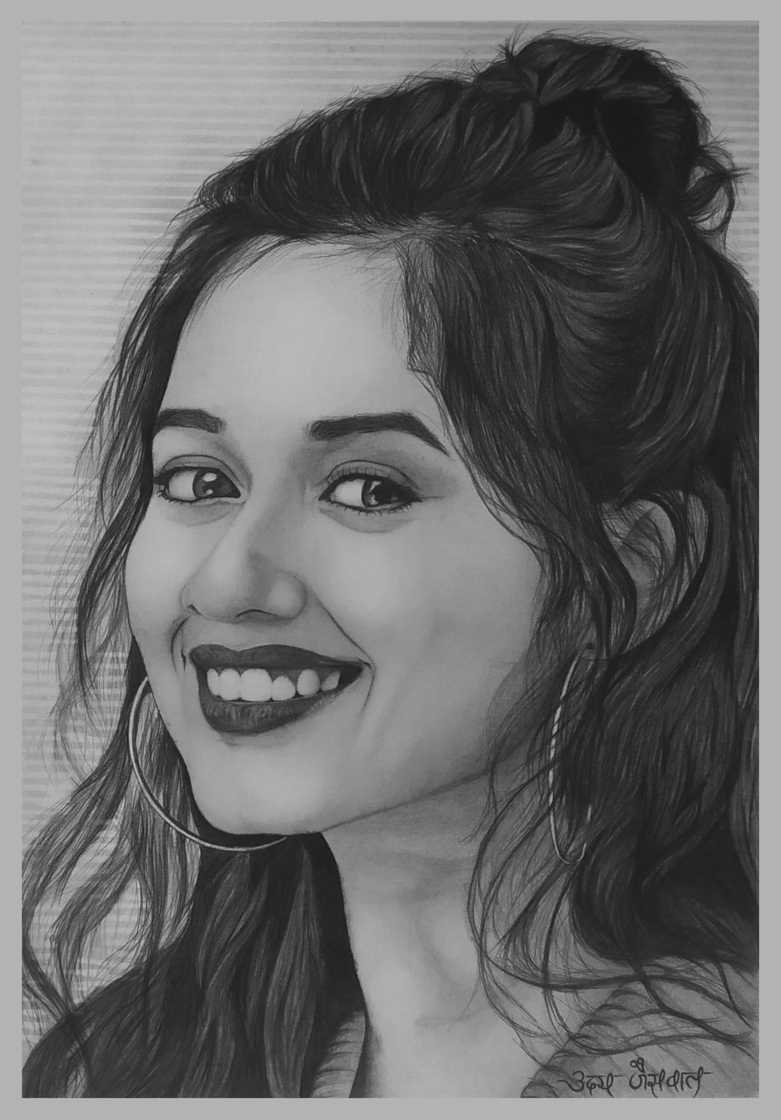 Ms. Jannat Zubair Rehmani Pencil Sketch