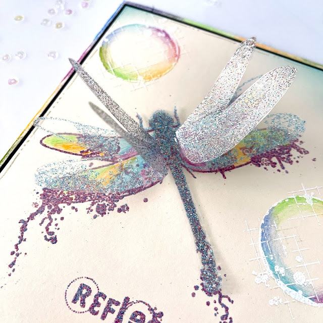 Embossed Dragonfly Stamp | Coloured Bubbles