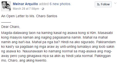 This Man Sends an Open Letter to Ms. Charo Santos About His Wife and You Will Not Believe His Story! Must Read!