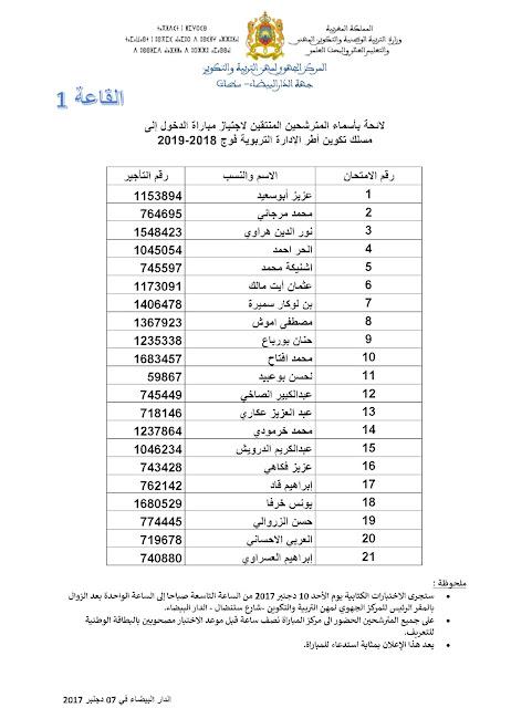 نتائج الإنتقاء الأولي لمباراة مسلك الإدارة التربوية لجهة الدار البيضاء سطات دورة دجنبر 2017