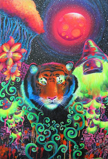 trippy picture of a tiger and mushroom