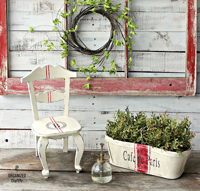 Upcycled Chair & Berry Basket with Grain Sack Stripe & French Style Stencils