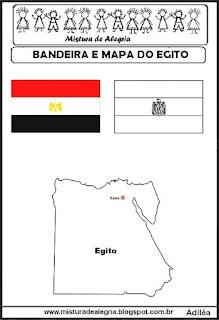 Bandeira e mapa do Egito