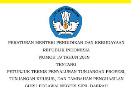 Permendikbud Nomor 19 Tahun 2019 Tentang Juknis TPG, Tunjangan Khusus dan Tambahan Penghasilan Bagi PNSD