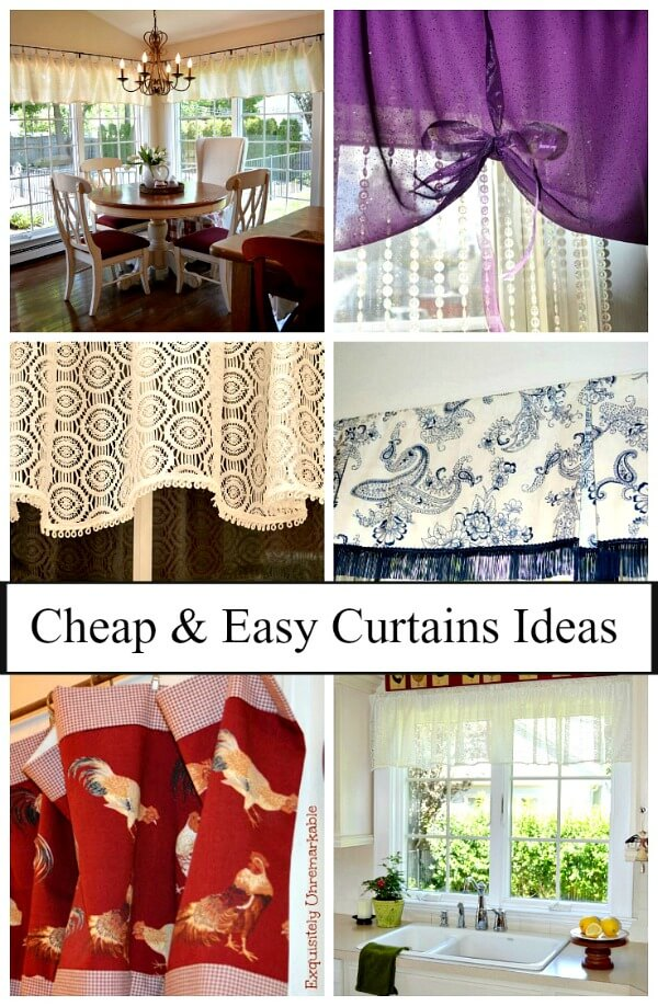 Cheap and Easy Curtain Ideas text over curtain idea photos