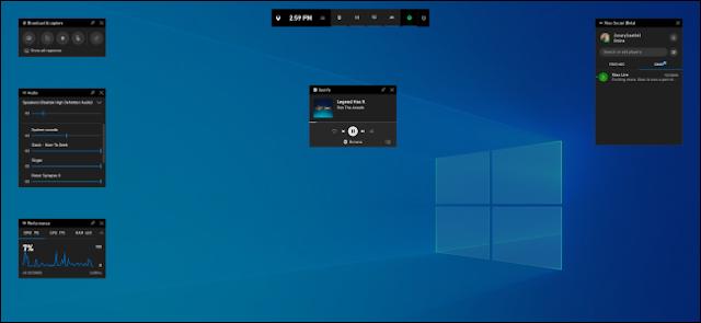 نظام التشغيل Windows 10 ، الإصدار 1903 ، تراكب شريط اللعبة الجديد