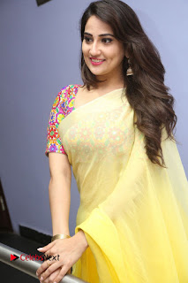 Manjusha Stills in Yellow Saree at Janaki Ramudu Audio Launch