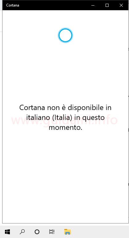 Cortana non è disponibile in italiano in Windows 10 May 2020 Update