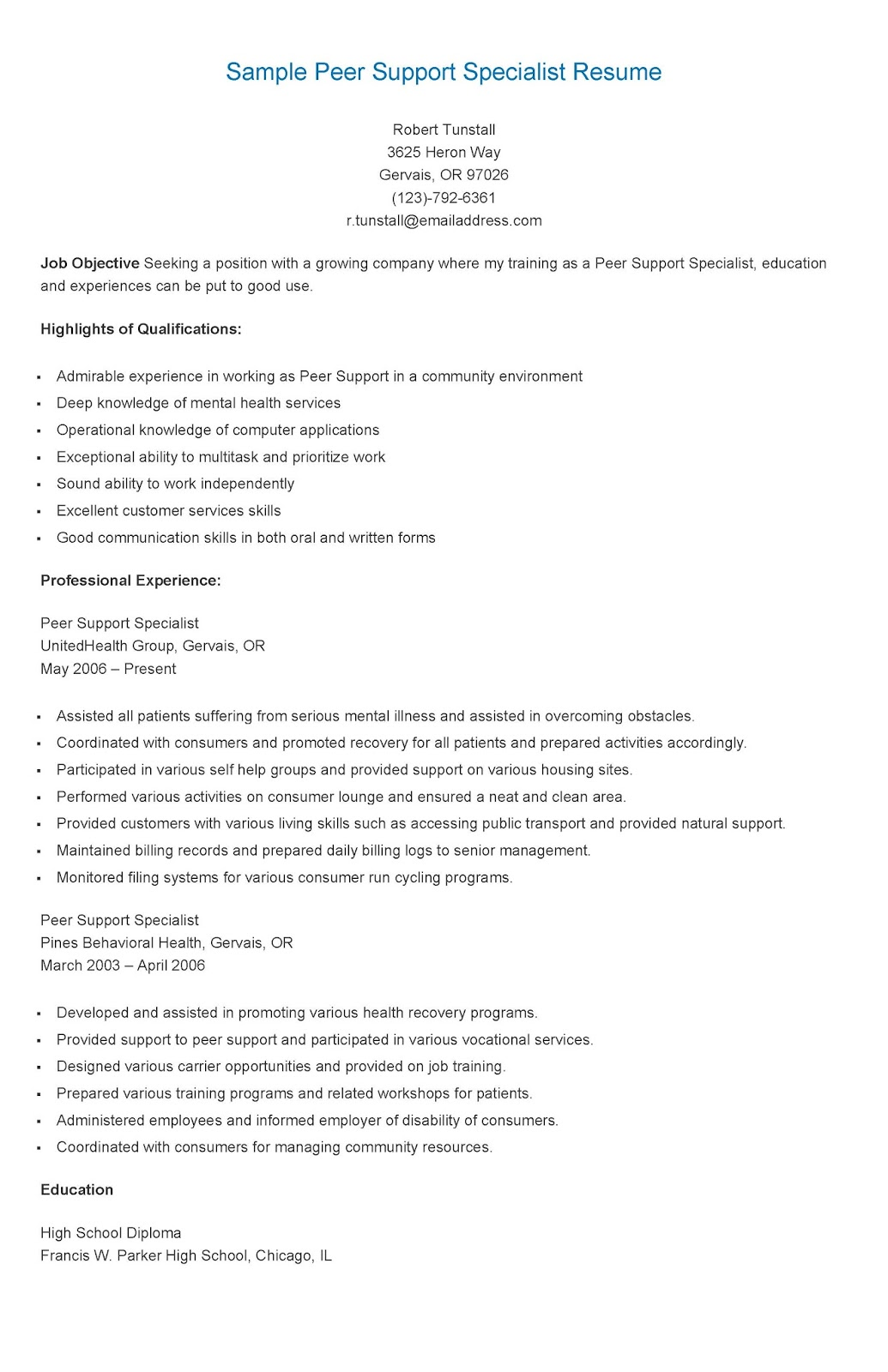 peer support specialist cover letter