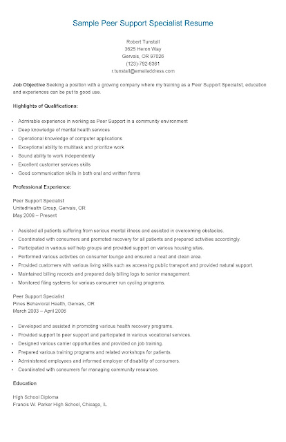 resume samples  sample peer support specialist resume