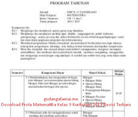 Download Prota Matematika Kelas 9 Kurikulum 2013 Revisi Terbaru