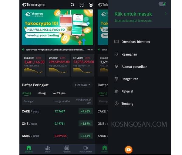cara withdraw deposit tokocrypto