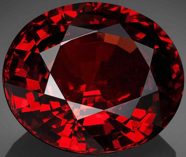 a red garnet in a close up photograph