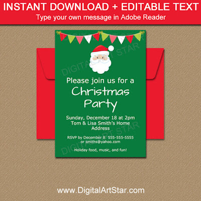 printable Santa invitation for your Christmas party