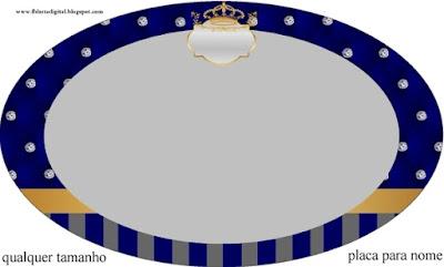 Toppers o Etiquetas de Corona Dorada en Azul y Brillantes para imprimir gratis.