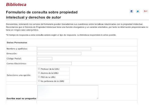 """""""Formulario de consulta sobre propiedad intelectual y derechos de autor""""."""