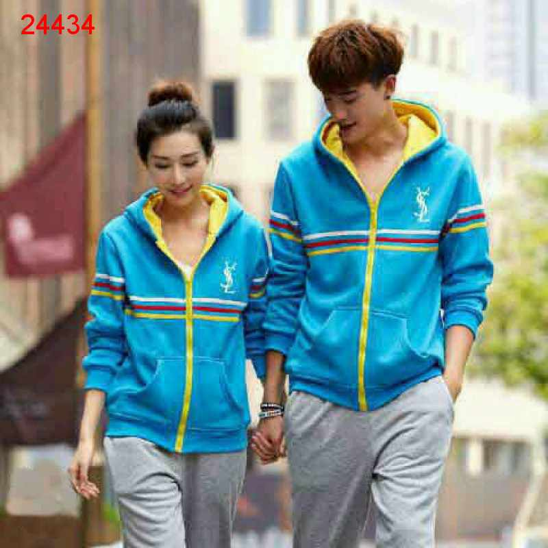 Jual Jacket Couple Jacket Sport YSL Biru - 24434