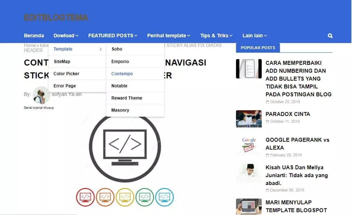 navbar navigasi menu halaman editblogtema