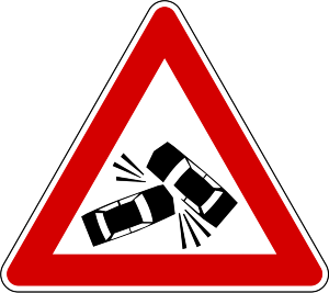 car crash warning sign