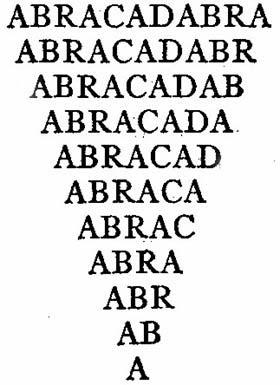 'Abracadabra' scritto nella sua forma triangolare / piramidale.
