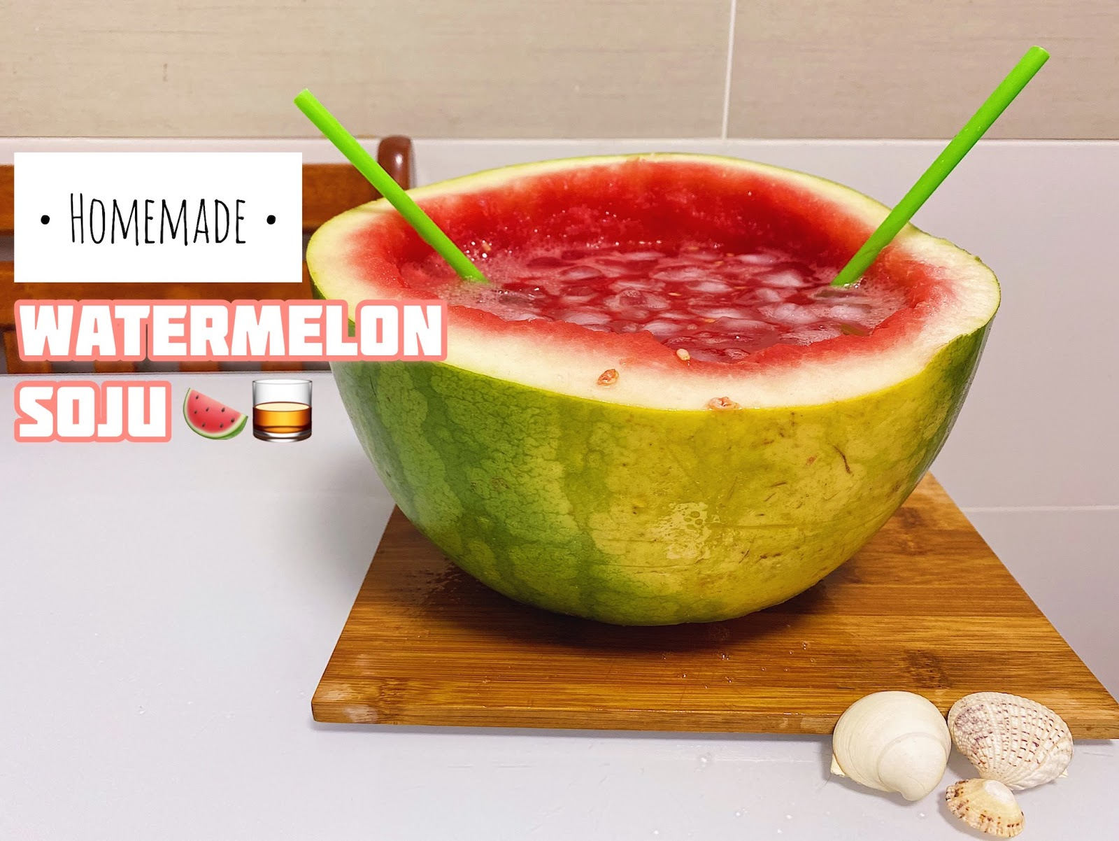 homemade, watermelon soju, unflavoured soju, watermelon vodka, easy recipe, subak soju, subak-soju