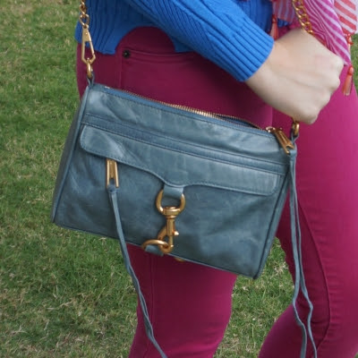 Rebecca Minkoff 2012 sky grey mini MAC bag with pink sass bide skinny jeans | awayfromtheblue