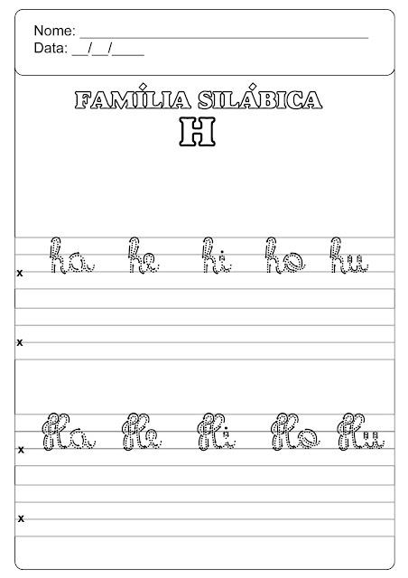 família silábica do h para imprimir