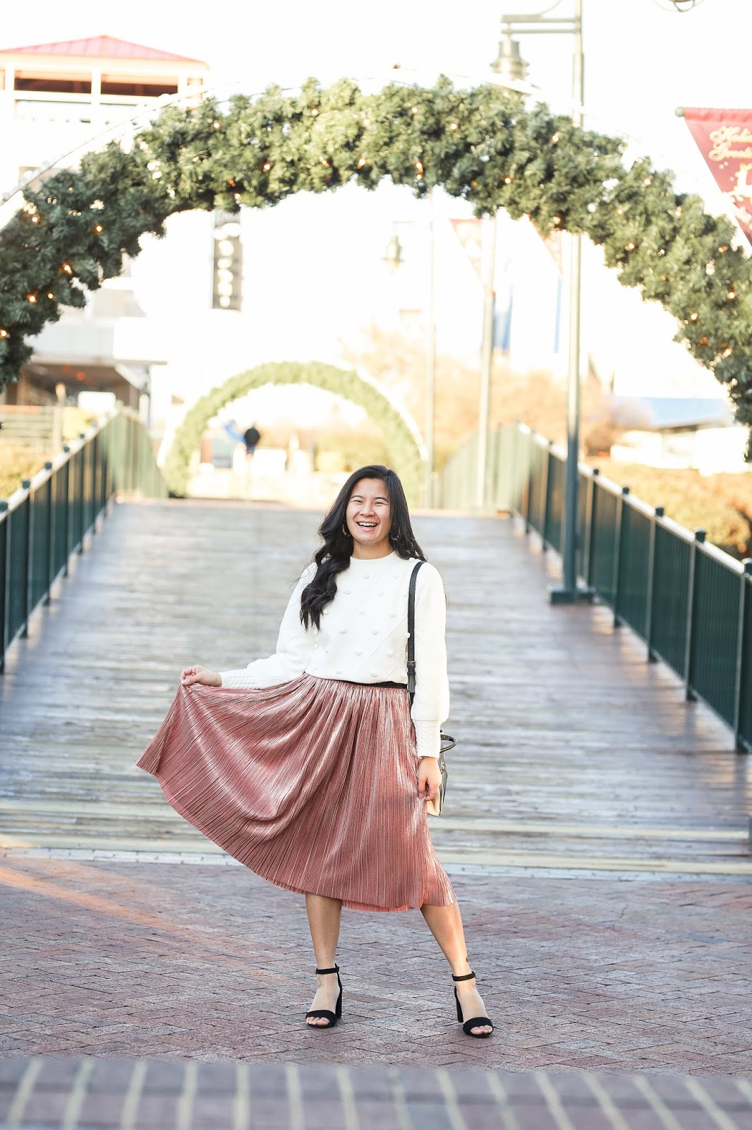 Midi skirt office holiday party outfit