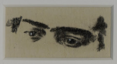 """""""Eyes of Frida Kahlo I"""" Charcoal on Paper, c. 2007 1 x 1.5 inches"""