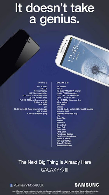 It doesn't take a genius ad Samsung s 3 vs iPhone 5