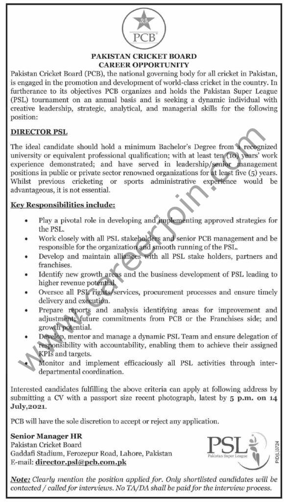 director.psl@pcb.com.pk - Pakistan Cricket Board PCB Jobs 2021 in Pakistan