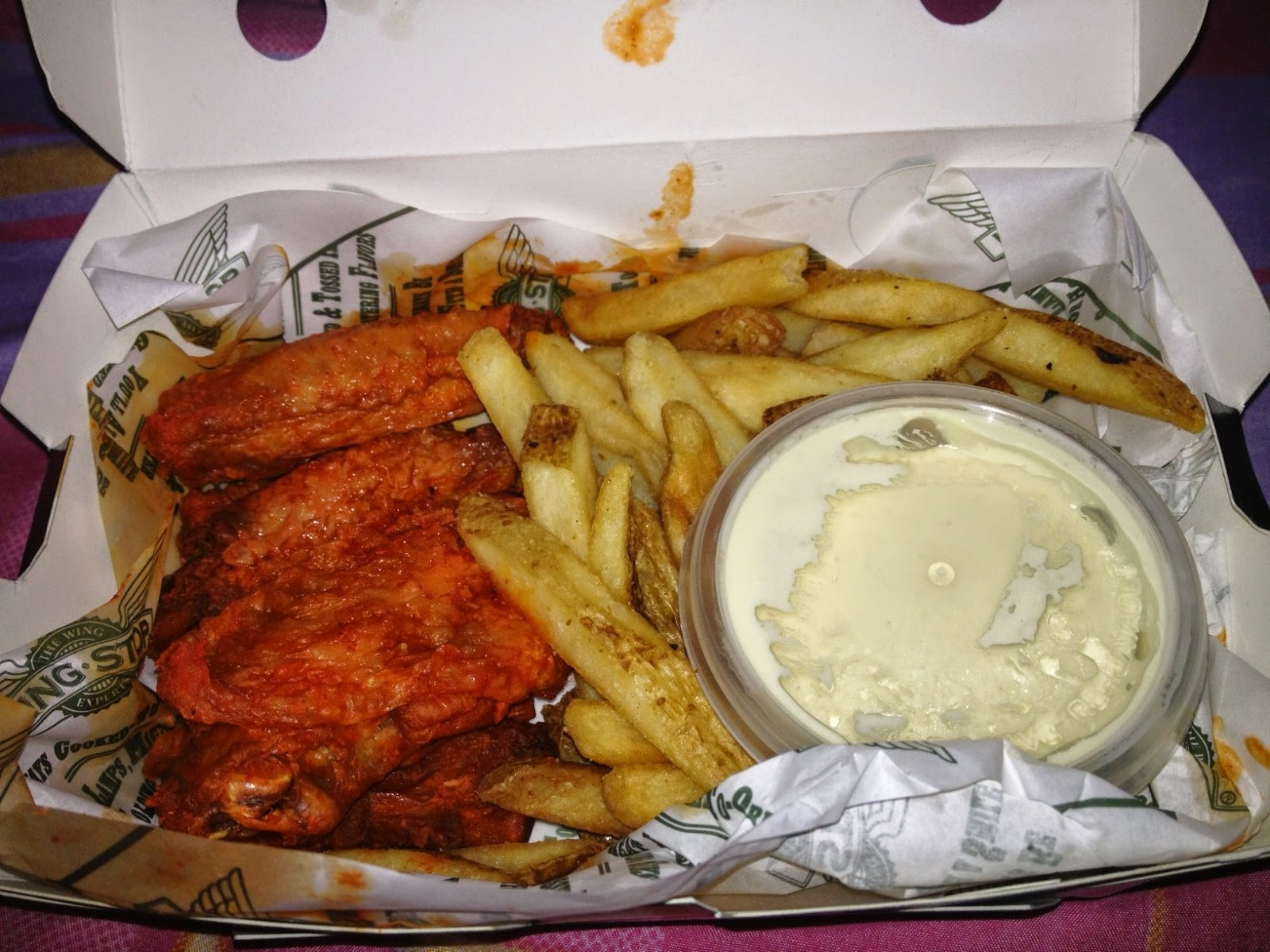 Original Hot Buffalo Chicken Wings with Fries as Sides & Bleu Cheese Dip