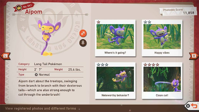 New Pokémon Snap Aipom Photodex registered photos page